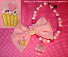 Lolita Bow+Cupcake Embroidery by becausecute