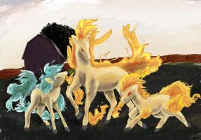 Ponyta And Rapidash by OwlVortex