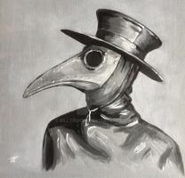 Steampunk plague doctor painted canvas art by billyboyuk