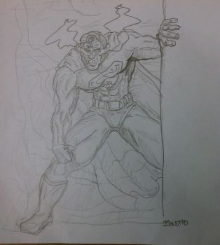 15 mins sketch of Superman by BreteKosan