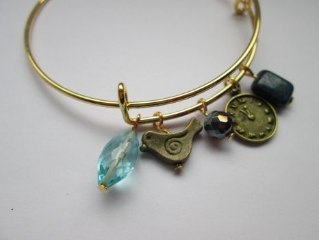 Bronze time charm gemstone bangle by Cre8tivedesignz