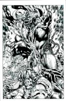 Inks process- Jim Lee Image United inks finish by JosephLSilver