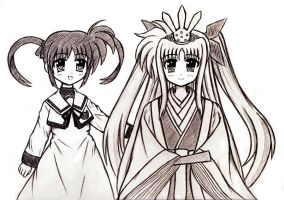 Nanoha and Fate on Girls' Day by Alice-Bellefleur