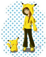 Genevieve and Pikachu by errisirre