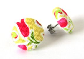 Stud earrings button yellow pink white green by KooKooCraft