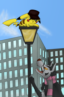 Commish - Chased Up a Pole by Karwaii