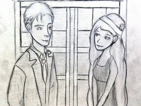 Request: Evie and the tenth Doctor by the Tardis by Bastasketch