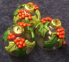 Holly ornaments by ladytech