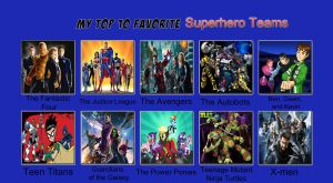 My top ten favorite superhero teams by Porygon2z