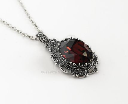Burgundy Gothic Necklace by Aranwen
