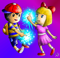 Ness and Paula by Moon-Side
