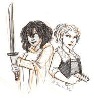 Michonne and Andrea Sketch by msciuto