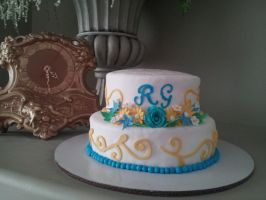 Blue and Yellow Wedding Cake by fairielove