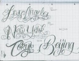 Tattoot Lettering 26 City's by 12KathyLees12