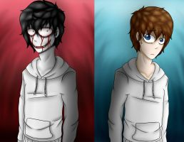 Two sides of Jeff The Killer by IchiroChan
