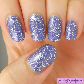 Nail-art-ghost-stamping by Painted-Fingertips