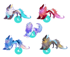 Yevren Dragon Mutation Adoptables + Deer (closed) by VanillaToxin