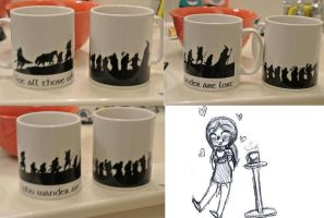 LotR's and The Hobbit Cups by BlueRoseFox