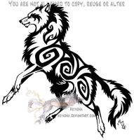 Jumping tribal wolf by Arixona