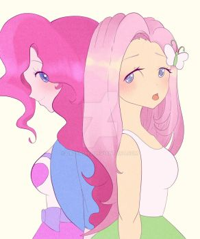 R : Pinkie Pie and Fluttershy by Lazybuns