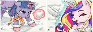 Snowball Fight  ACEO by JPepArt