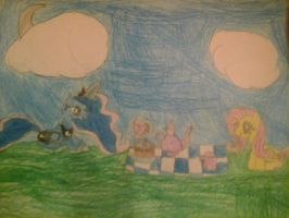 Luna and Fluttershy having a picnic by Meadow-Leaf