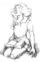 Girl Reading A Book by LevonHackensaw