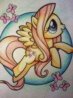 Fluttershy Crayon Picture by ze-tta