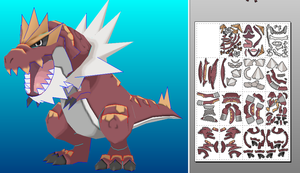 Tyrantrum v2 papercraft unfold by javierini
