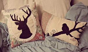 Floral Silhouette Pillow Set by MachineGun-Baby