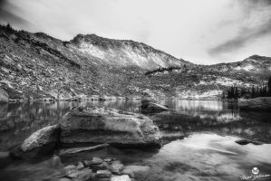 The Lake at the Top of the Mountain BW by mjohanson