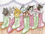 Stocking stuffer pups by NatsumeWolf