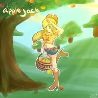 Mlp: FiM - Applejack Anime by calabogie2007