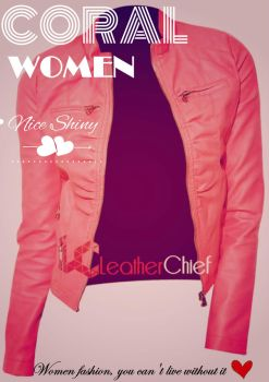 Stylish Coral Women's Leather Jacket by Megan-Walker