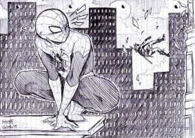 Spiderman and Deapool - Biro Sketch by mangarainbow