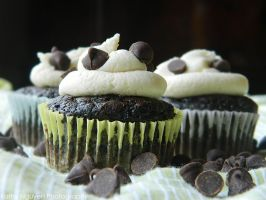 Mint Chocolate Chip Cupcakes by xBubblePop