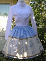 Blue doll print skirt by The-Cute-Storm