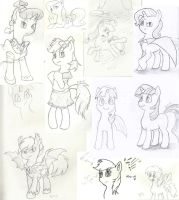 Some Pony Sketches by dustysculptures