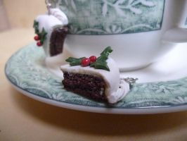 Piece of Cake - Christmas Cake Earrings by dfritillary