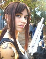 Revy with her gun cosplay by DeathWrathAngel