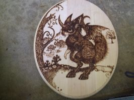 Monster Wood Burning Plaque by farfie