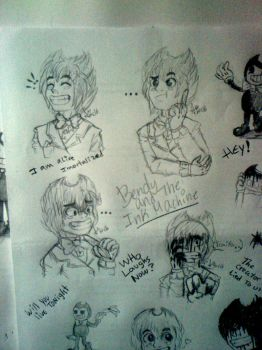 Sketches! Bendy and The ink Machine/ Human version by Miu-Chan16