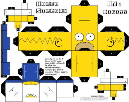 Paper craft Homer simpson by Digity