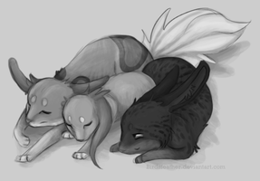 Family nap by BirdsFeather