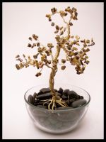 Gold Tigerseye Wire Tree by FlyingFrogCreations