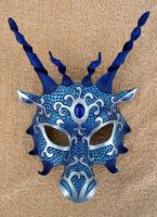 Blue Silver Dragon Mask by merimask