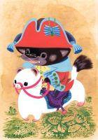 Tasmanian Devil Riding Ferret by Pocketowl