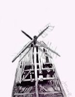 Grist Mill, pencil drawing 50 x 70 by SoniaSh