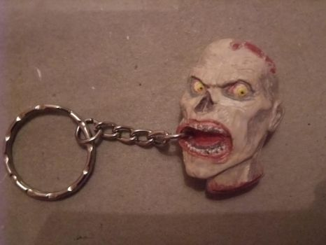 Hand painted Walking dead zombie keyring by Catonia