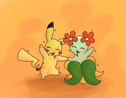 AT: Pikachu and Bellossom by avui